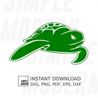Swimming Green Sea Turtle svg
