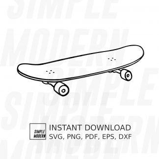 Simple Skateboard Outline Drawing SVG