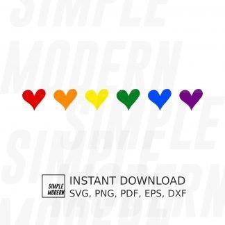 Pride Colour Row of Hearts