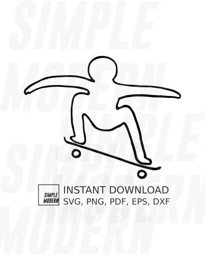 Stick People Skateboarding Vector