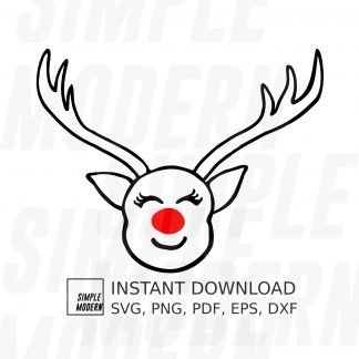 Red Nose Reindeer Face Vector