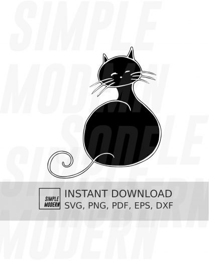 Black Fat Round Cat SVG